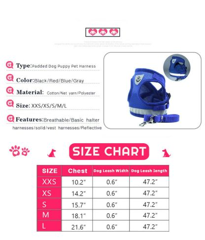 Small Dog Harness Sizes