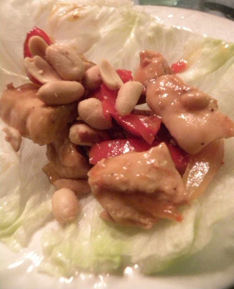 Lettuce Wrap Chicken Stir-Fry with peanuts
