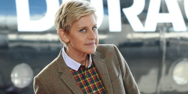 "VAN NUYS, CA - NOVEMBER 22:  Ellen DeGeneres kicks off the ""Power a Smile"" campaign at the Van Nuys Airport on November 22, 2013 in Van Nuys, California.  (Photo by Jason LaVeris/FilmMagic)"