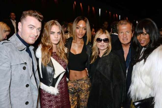 Sam Smith, Cara Delevingne, Jourdan Dunn, Kate Moss, Mario Testino and Naomi Campbell at the Burberry Womenswear Autumn_Winter 2015 Show.