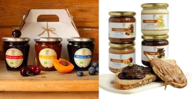os nove sabores de geleia e as cinco pastas de chocolate estaão disponíveis para venda nas quatro lojas, localizadas em São Paulo.