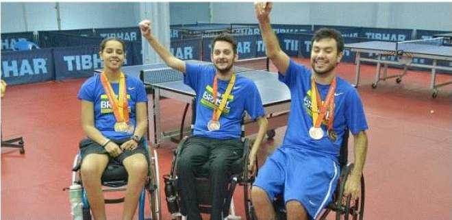 Cátia Oliveira (e), Bruno Braga (c) e Guilherme Costa (d), são esperança de medalhas. Crédito: Gustavo Messina