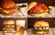 Delícias que você só encontra no novo cardápio da Reder Burger Lab Experience. Em sentido hórário, começando de cima, à esq.: Bacon Dream, Bloody Mary, Cosa Nostra e o espetacular Big Monster.