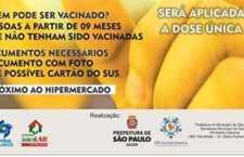Apoio à vacinação contra a febre amarela continua no próximo bimestre, no Shopping Interlagos