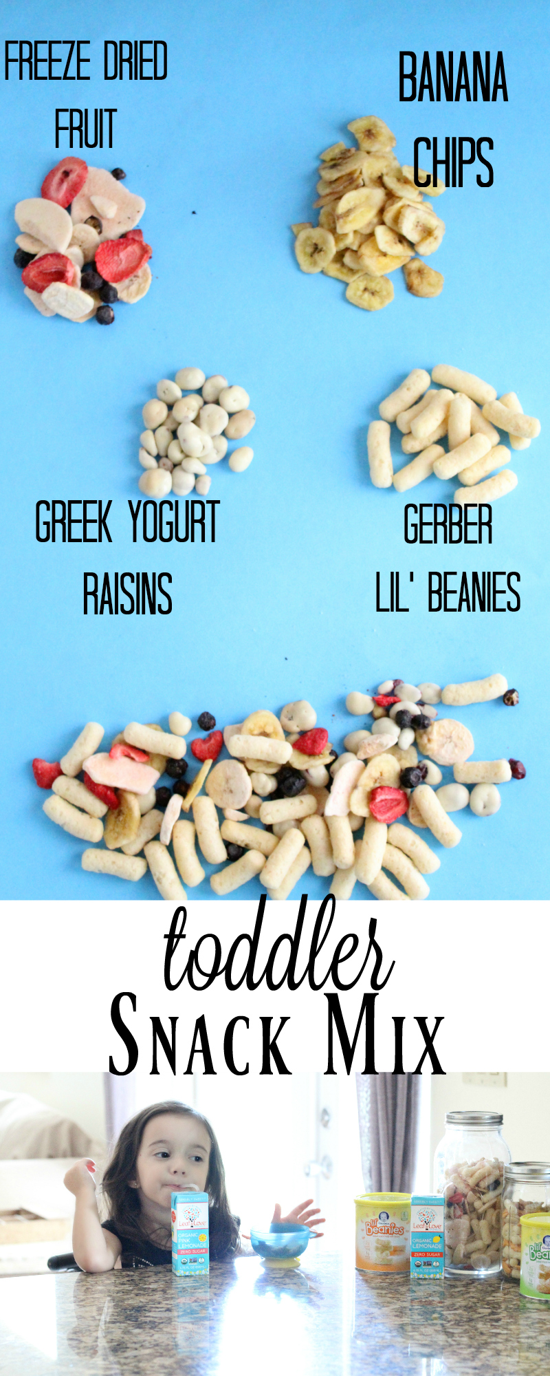 Easy Toddler Snack Mix. Healthy and Nutritious snacks that my kids love! Gerber Lil Beanies >> https://ooh.li/1f45437