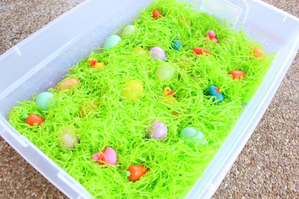 Spring Grass Easter Egg Sensory Bin for Toddlers