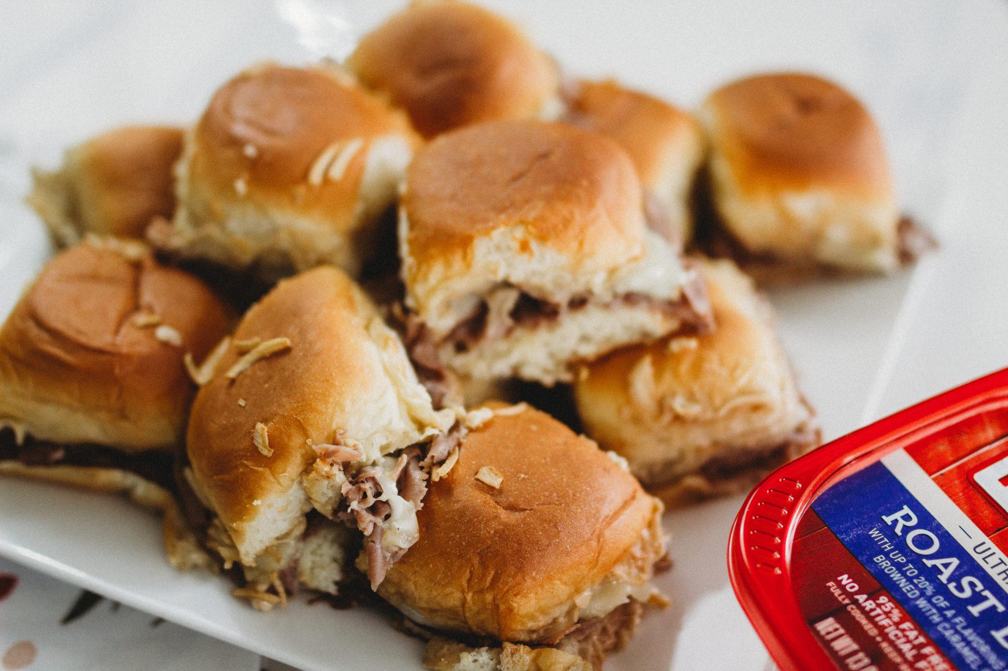Celebrate the big game with these tasty French Dip Sliders using Hillshire Farm thin sliced roast beef #ad #TysonWinningLineup #Walmart