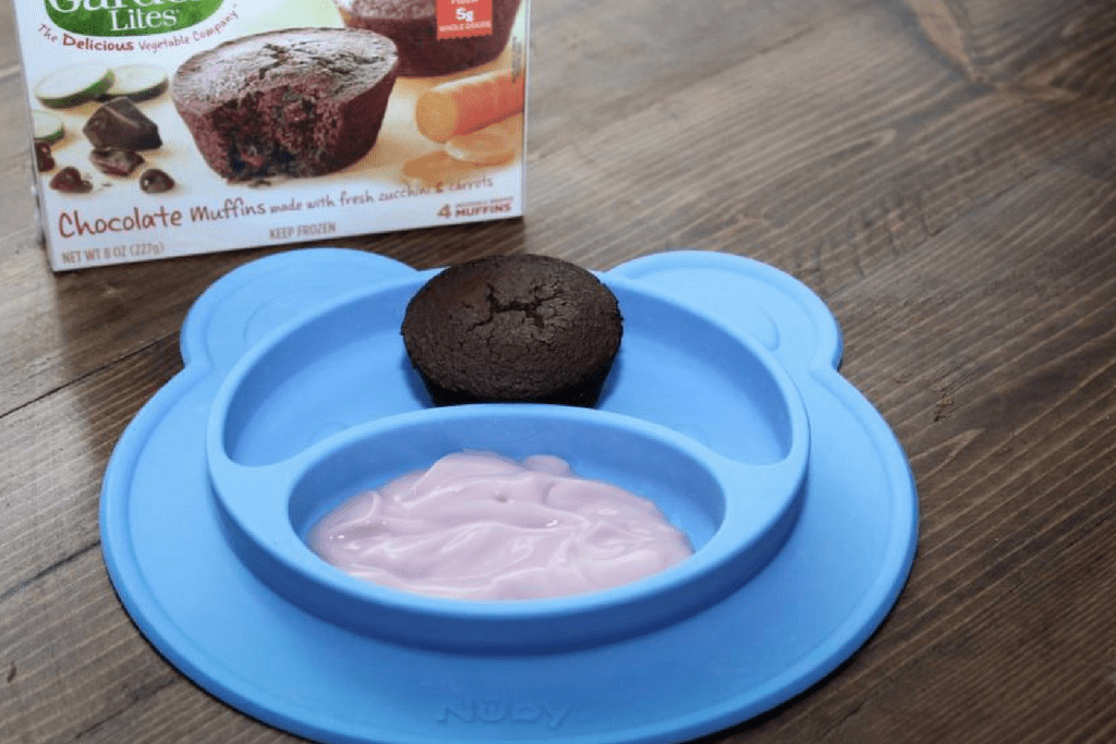 Lunchbox Snacks for Preschool, yogurt and Garden Lite muffin