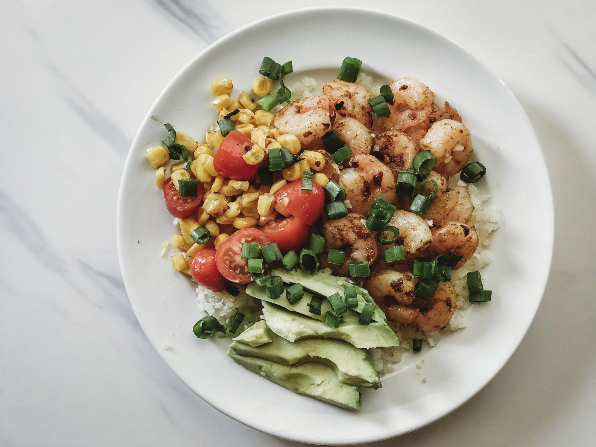 healthy shrimp taco bowl, shrimp burrito bowl, cauliflower rice bowl, shrimp bowl, taco tuesday recipes
