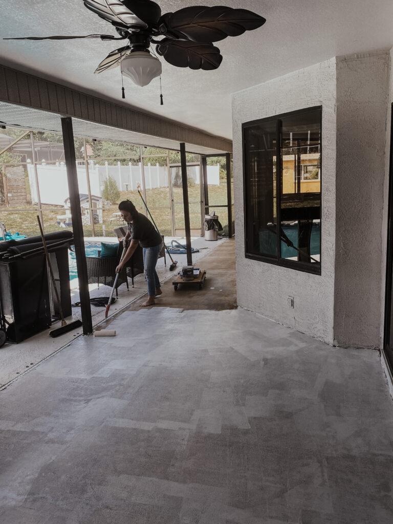 stenciled concrete patio crazy life