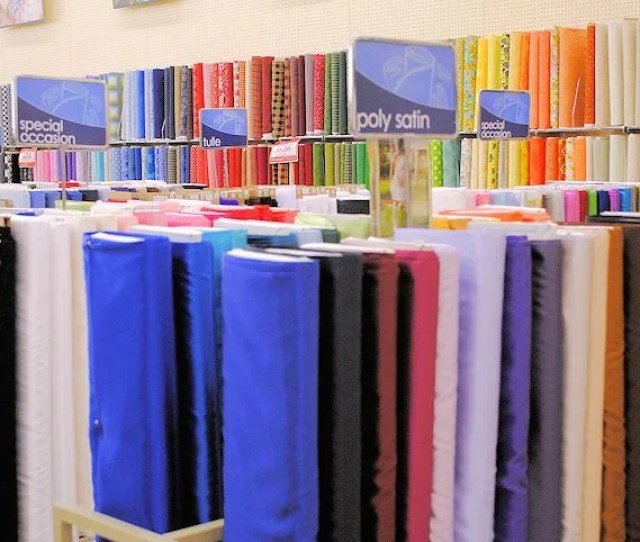 Youll See Shelves And Shelves Of Fabric And At The Top A Sign Indicating What Type Of Fabric You Are Seeing Shown Above Are Specialty Type Fabrics That