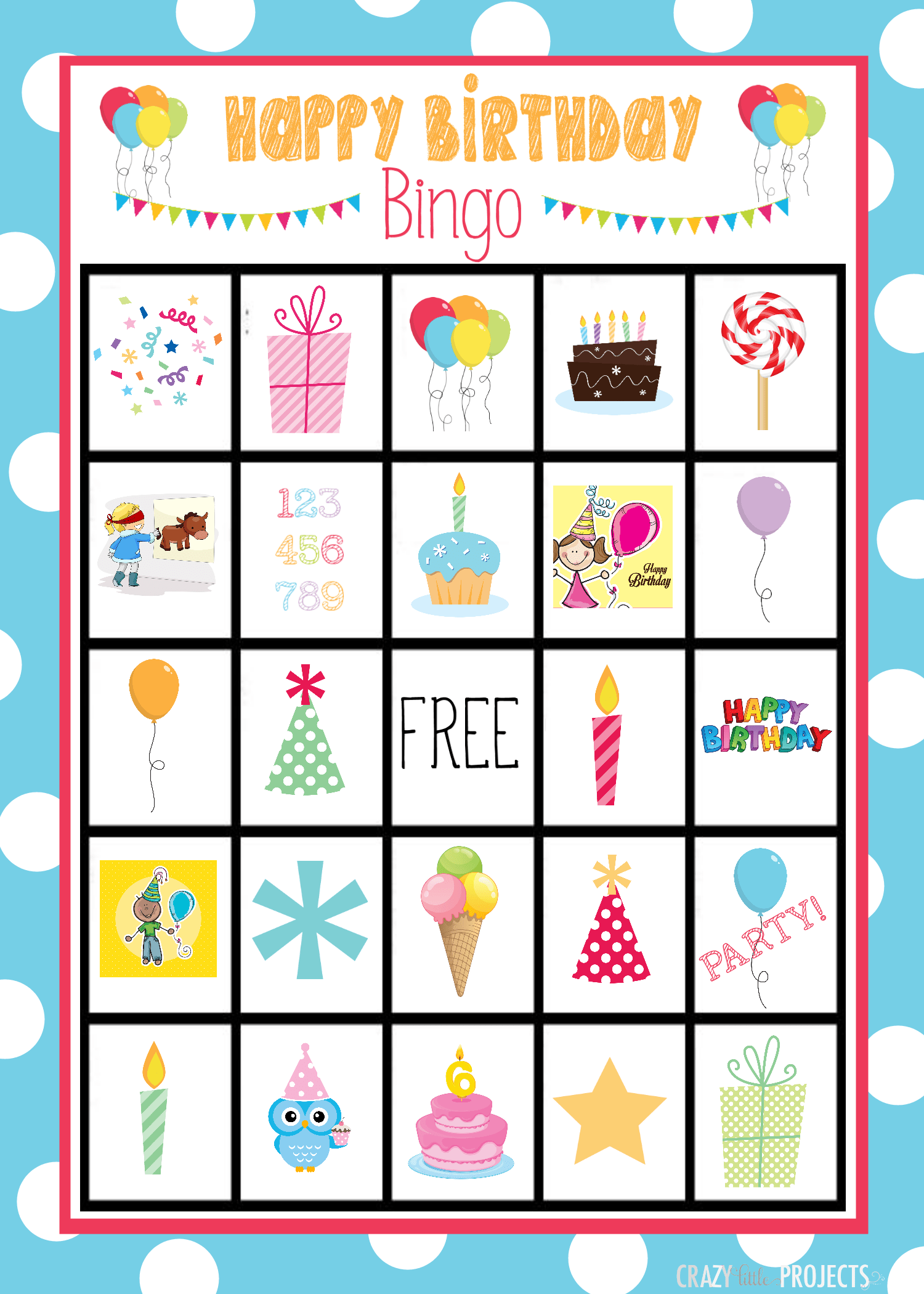Birthday Bingo Cards Crazy Little Projects