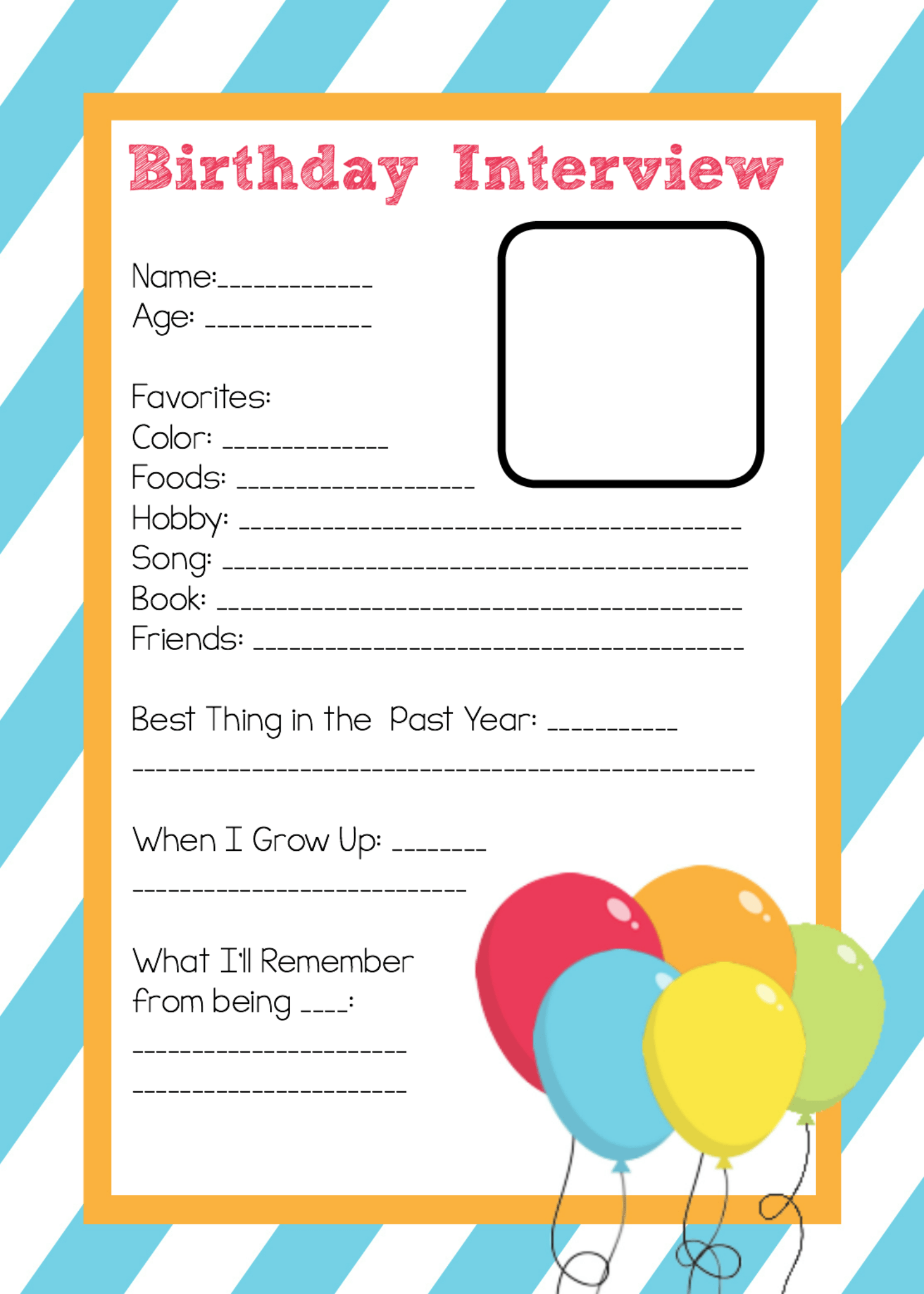 Free Printable Birthday Interview Template