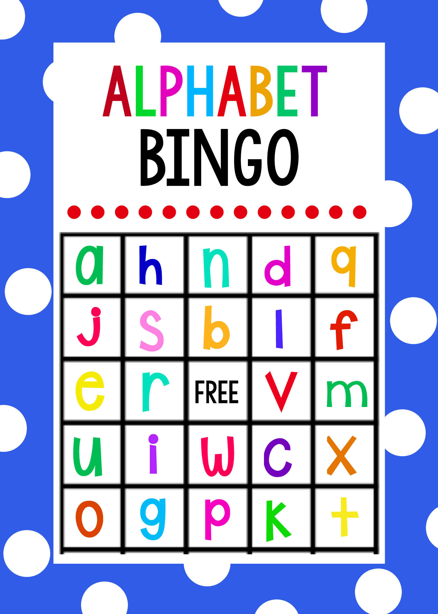 Lowercase Alphabet Bingo Game