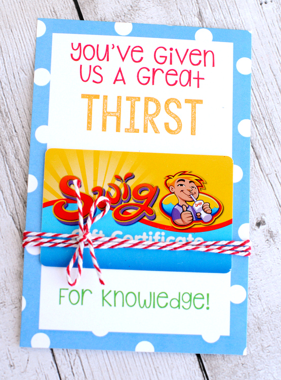 Teacher Appreciation Gifts Printable Gift Card Holders