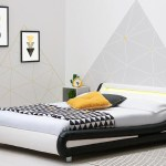 Barcelona Black White Faux Leather Led Bed Frame Single Double King Sizes Crazypricebeds Com