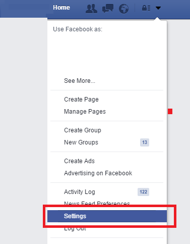 open facebook settings