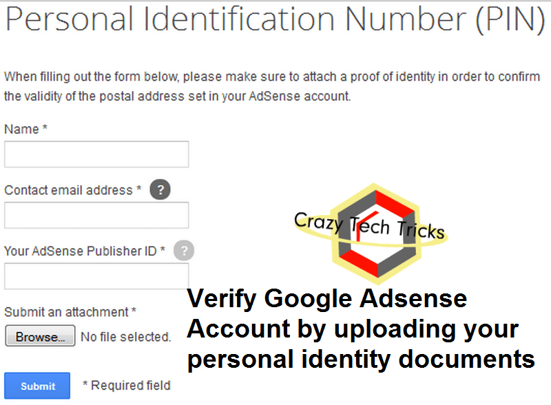 Verify Google Adsense Account by uploading your personal identity documents