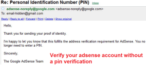 How To Verify Google Adsense Account Without Pin Code Verification