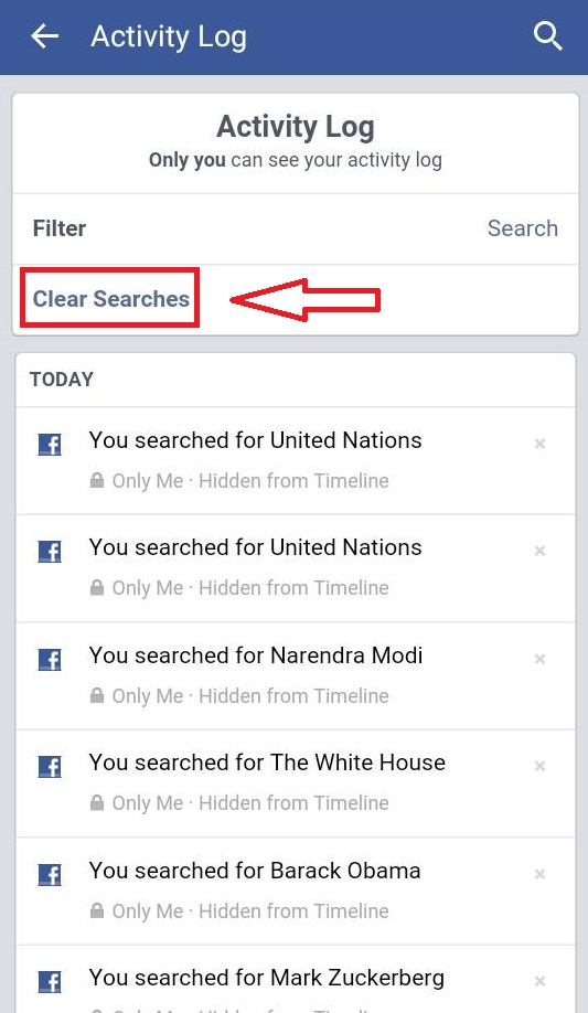How to clear your facebook search history from activity log