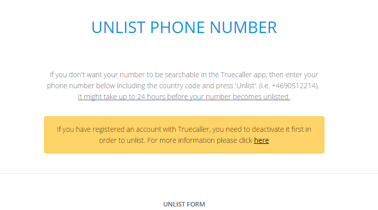 Unlist Phone Number to Remove your Number From Truecaller