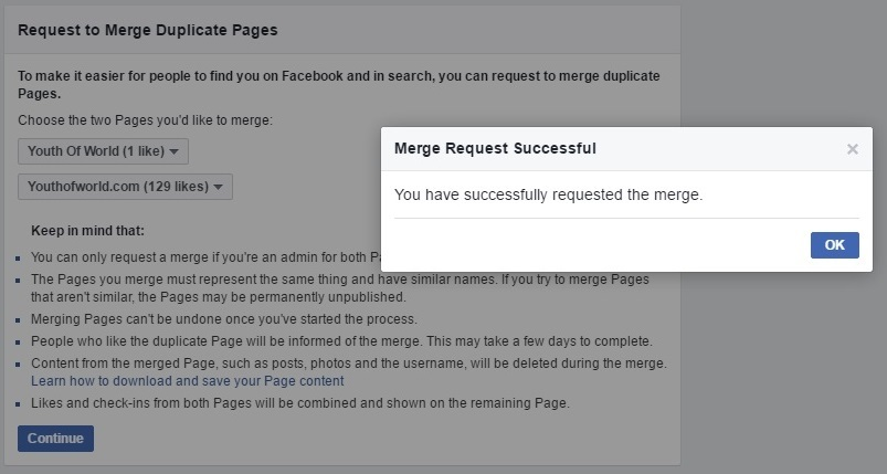 Facebook pages will be merged