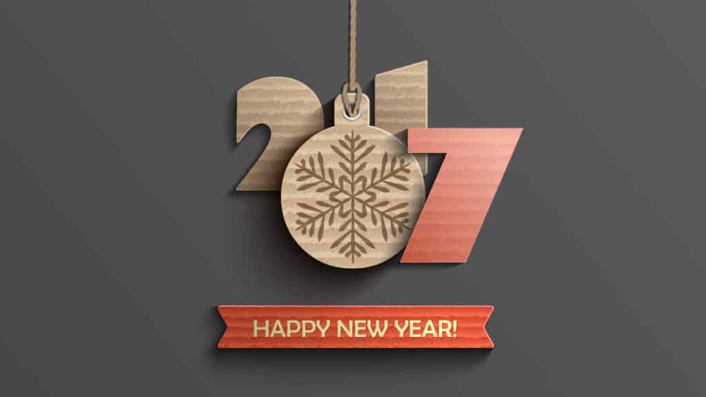 Happy New Year 2017 best wishes hanging on wall