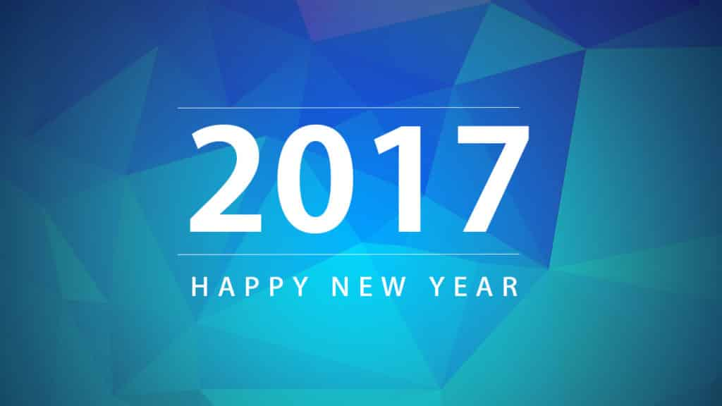 Happy New Year 2017 greeting with blue background
