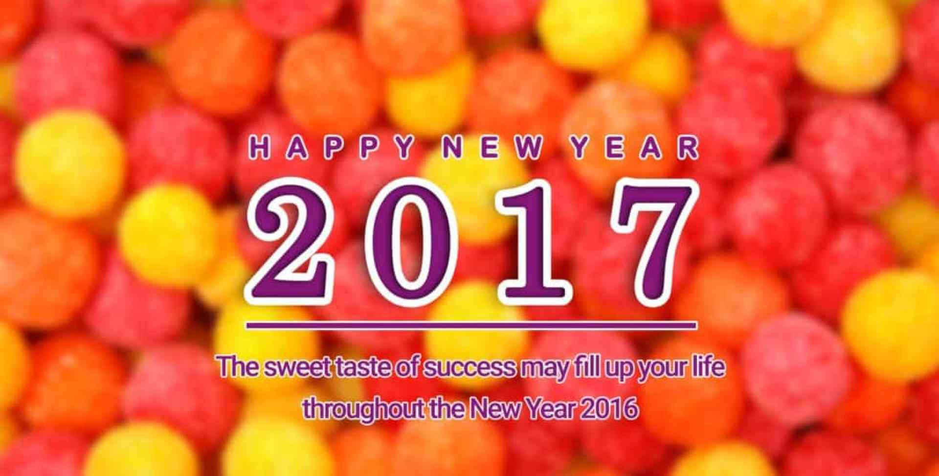 Happy New Year 2017 with a good thought and balls in background