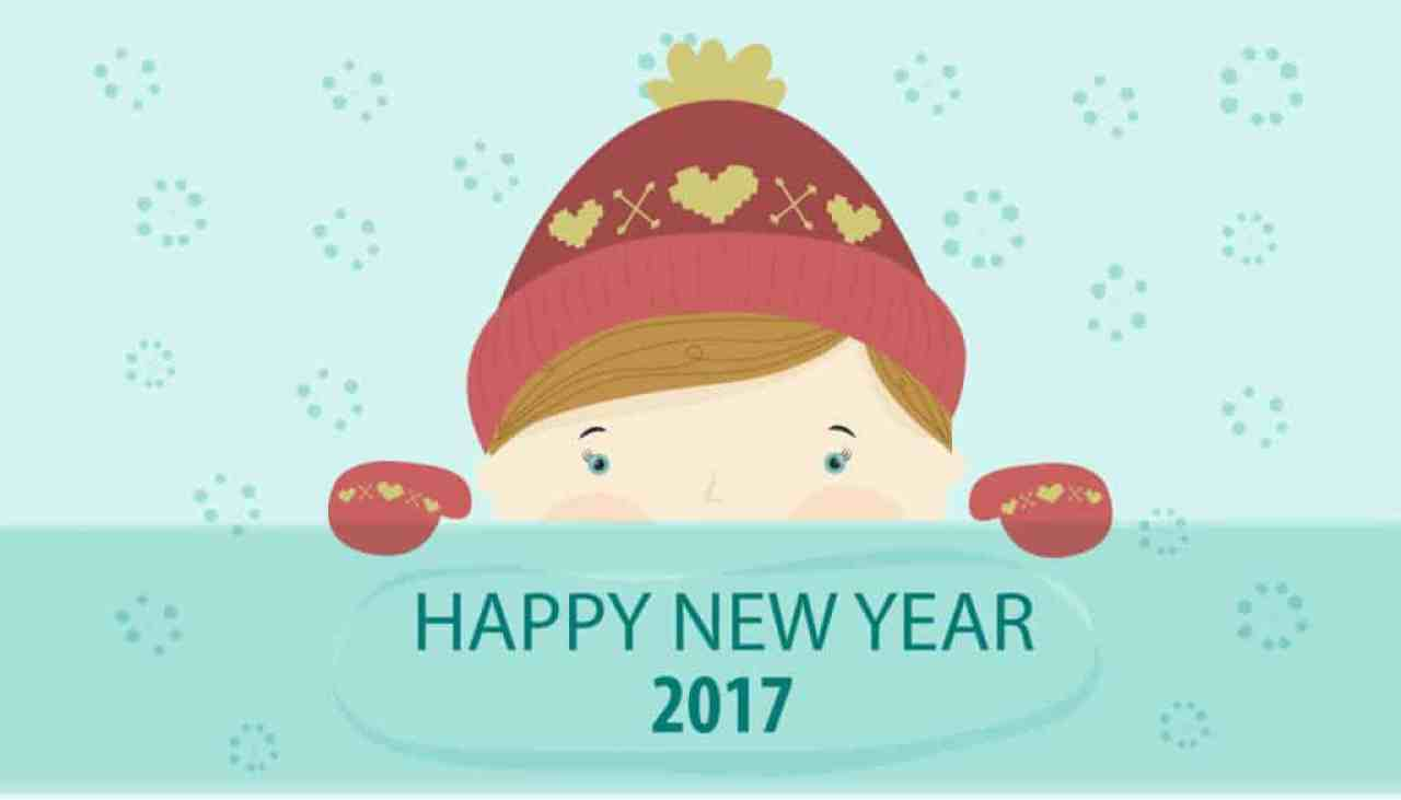 Happy New Year 2017 with a little kid