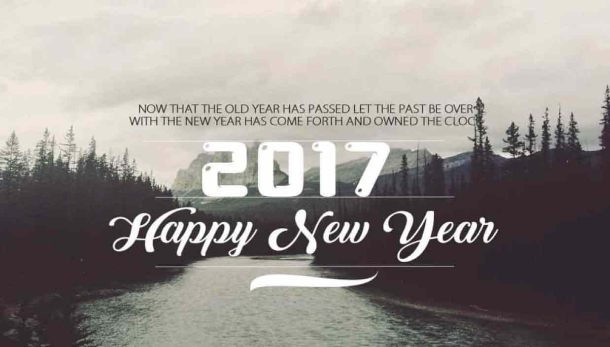 Happy New Year 2017 with a quote and river background