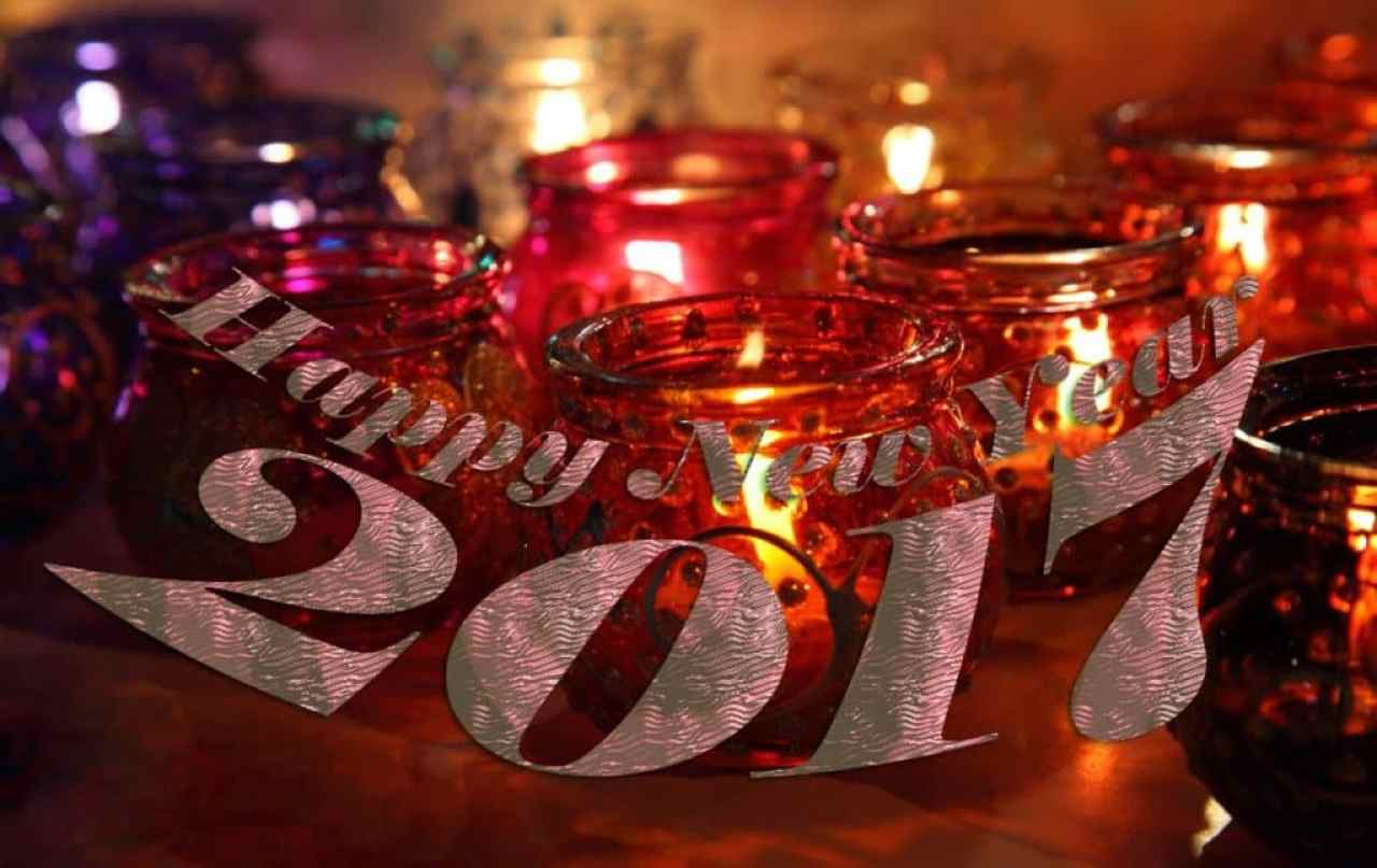 Happy New Year 2017 with beautiful lamps