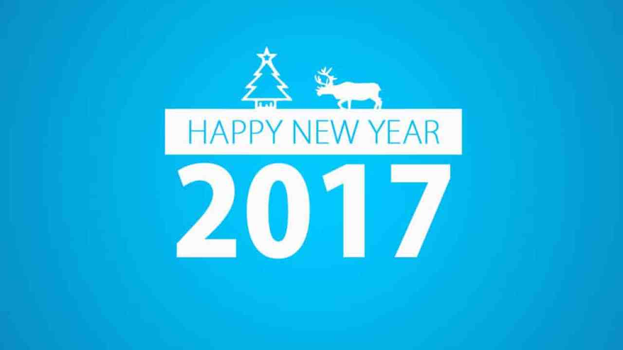 Happy New Year 2017 with blue background, tree and a reindeer