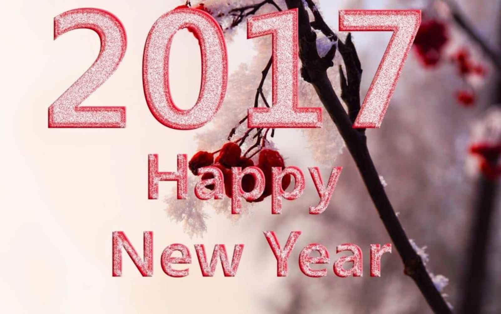 Happy New Year 2017 with cherries