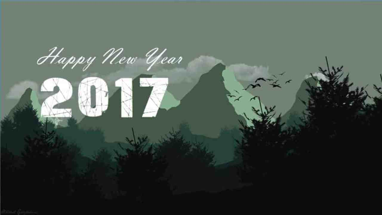 Happy New Year 2017 with dark forest background