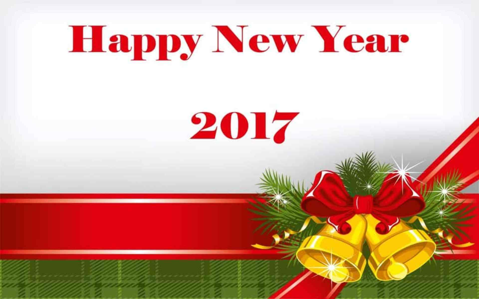 Happy New Year 2017 with decoration bells