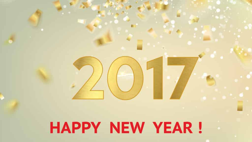 Happy New Year 2017 with golden cards