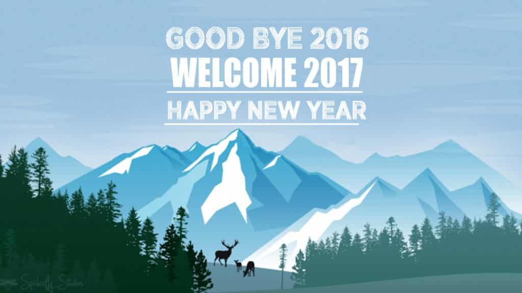Happy New Year 2017 with hilly background