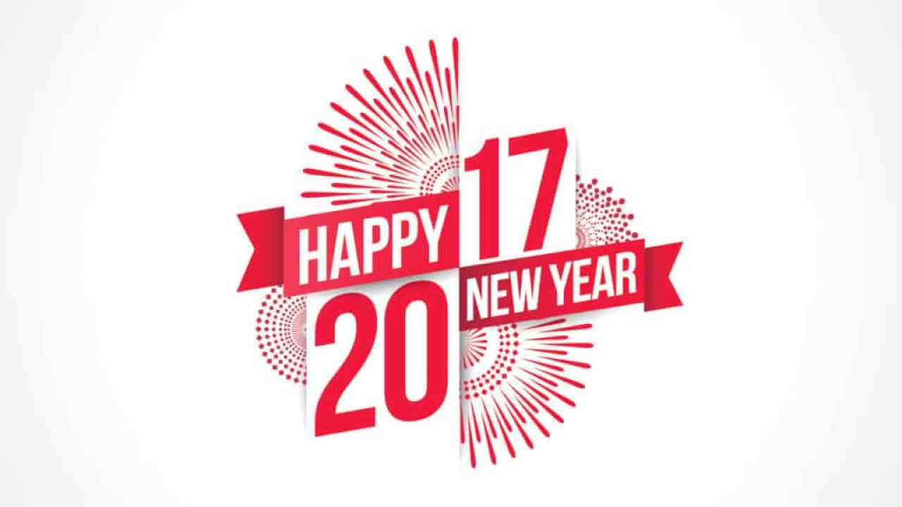 Happy New Year 2017 with red color design on white background