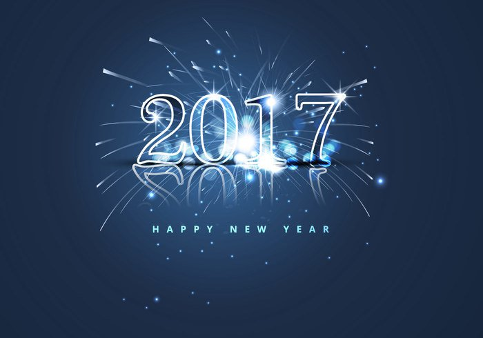 Happy New Year 2017 with shining and crackling background