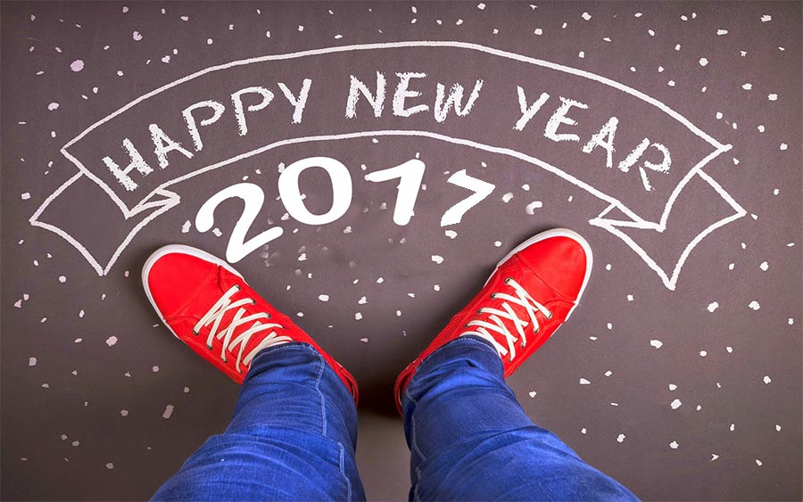 Happy New Year 2017 with shoes and legs