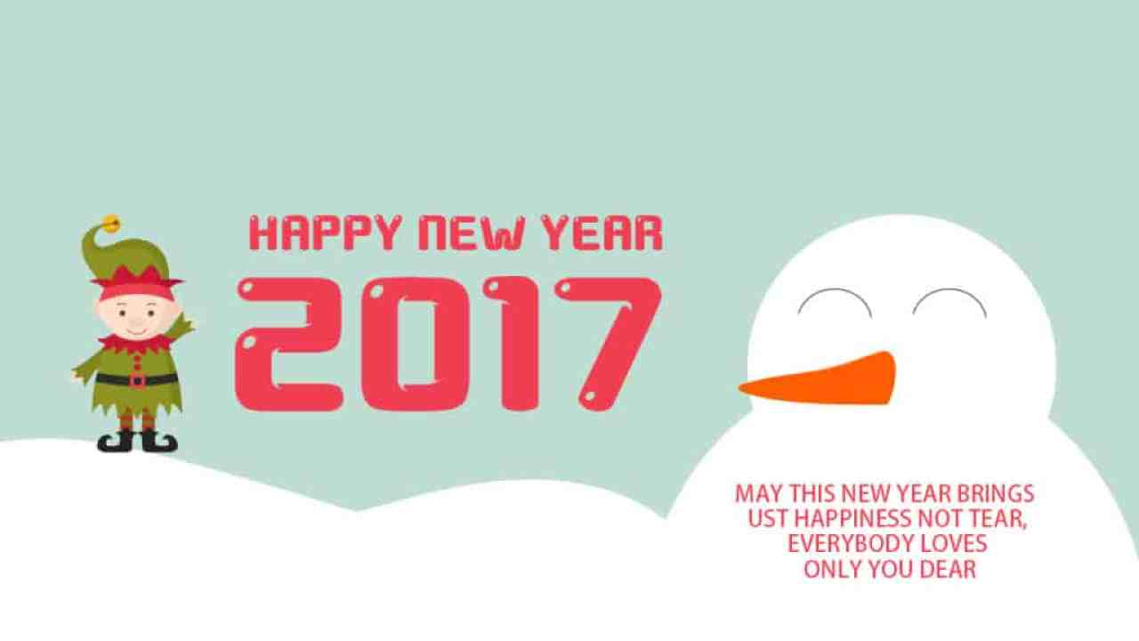 Happy New Year 2017 with snowman and cute kid