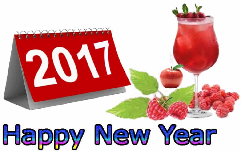Happy New Year 2017 with strawberries and cherries