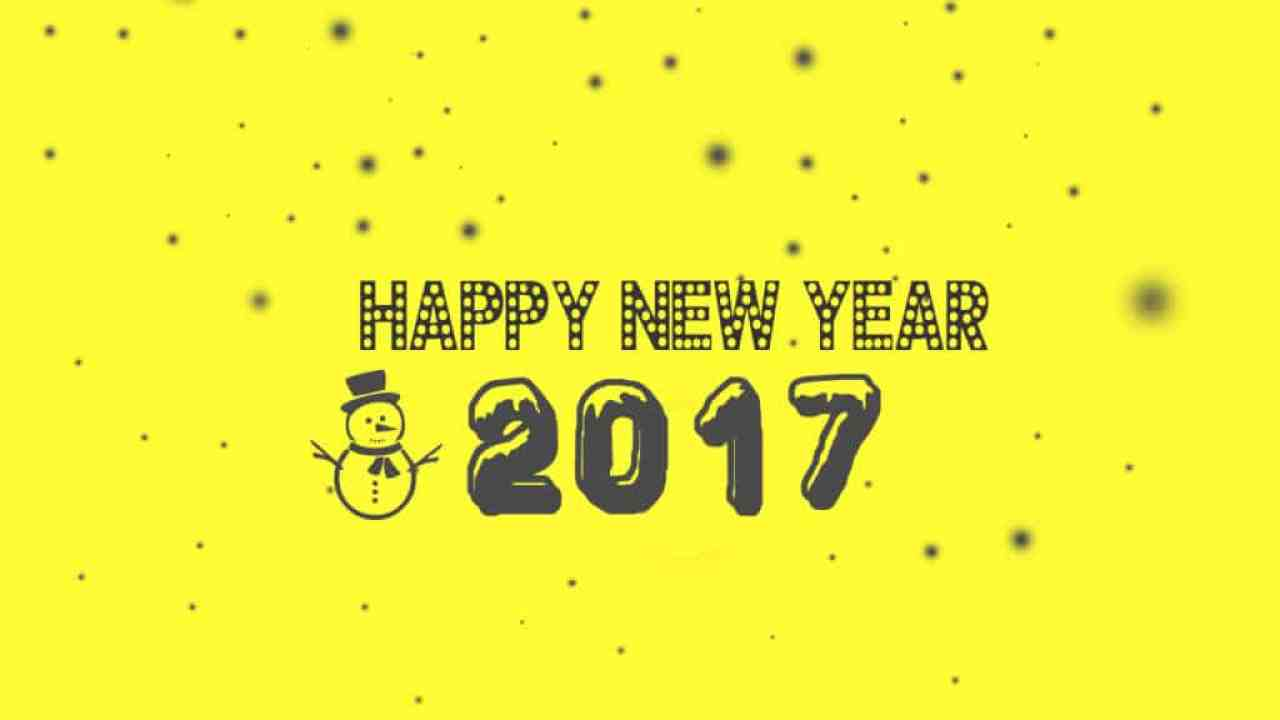 Happy New Year 2017 with yellow background and a snowman