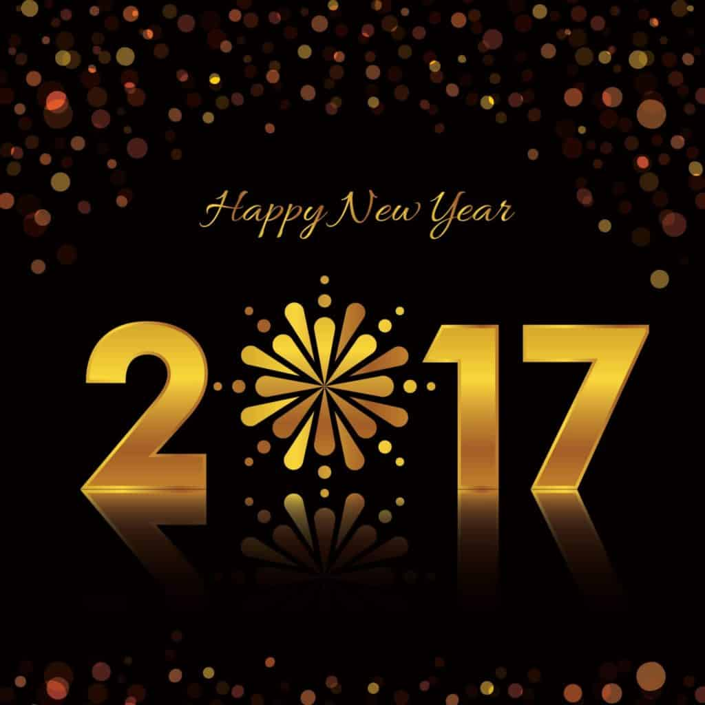 Happy New Year 2017 written with gold on black background