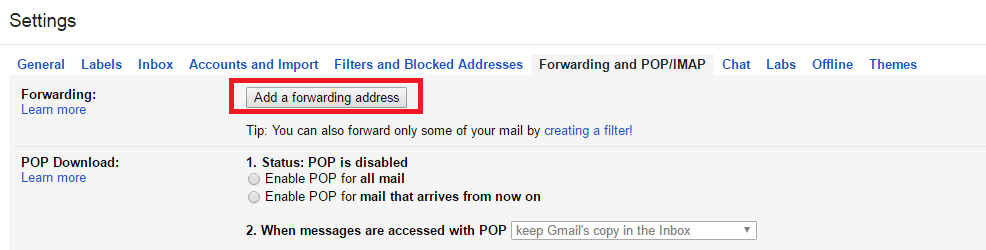 "click on ""Forwarding and POP-IMAP"" tab to Enable Gmail Forwarding"