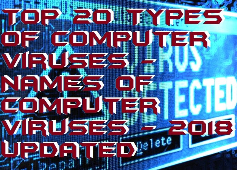 Top 20 Types of Computer Viruses - Names of Computer Viruses - 2018 Updated