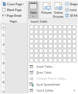 Click on Excel Spreadsheet. Word will create a new blank spreadsheet where your cursor is placed. - Go to the Insert tab on the ribbon and click on Table.