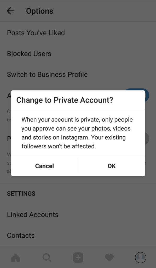Click on the toggle button and switch it on - How To Get Instagram Private Profiles - Make Instagram private