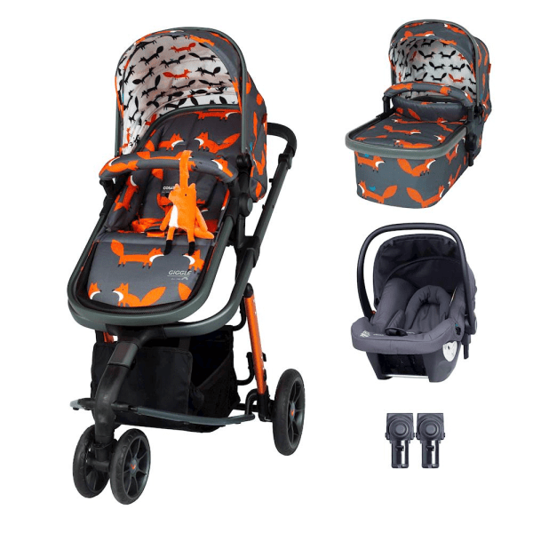 Cosatto Giggle 3 Travel System & Hold Group 0+ Car Seat Bundle - Charcoal Mister Fox